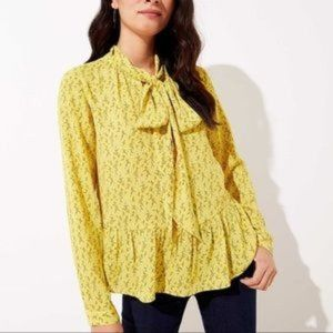 Loft Yellow Floral Pussy Bow Ruffle Blouse Size XS